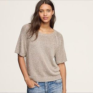 J. Crew Beige Metallic Short Sleeve Top